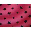 Etoiles noires sur rayures rouge-rose