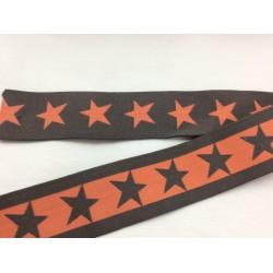 Gummiband orange-grau mit Sternen