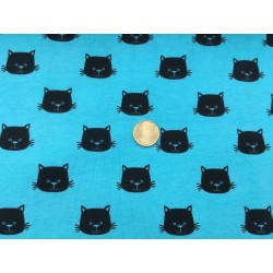 Têtes de chats sur bleu