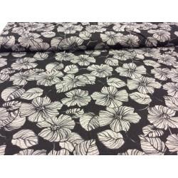 Grey flowers on black
