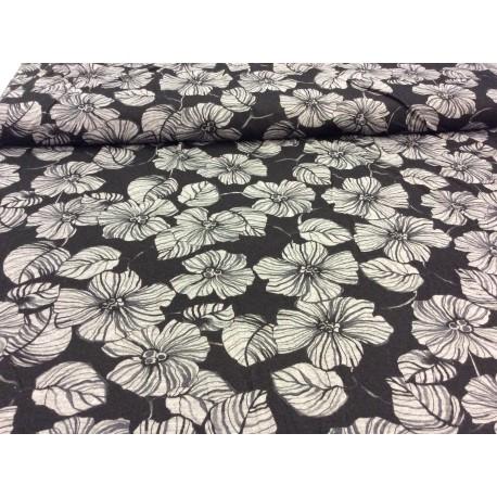 Graue Blumen auf schwarz