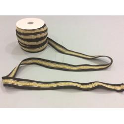 Jerseyband schwarz gold glänzend