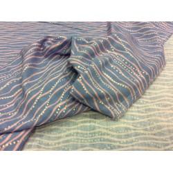 Musselin blau, Wellen, hot foil