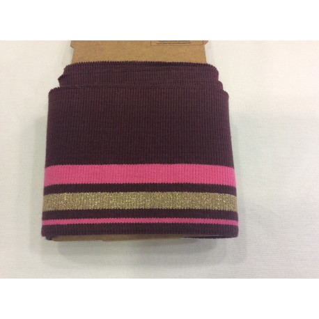 Cuff me bordeaux with pink and golden stripes