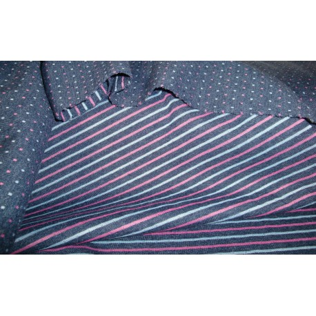Sweat double layered blue navy with stripes and dotts pink and grey