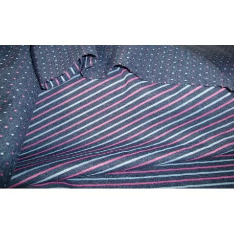 Sweat zweiseitig blau Streifen Punkte rosa/grau