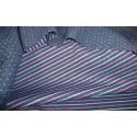 Sweat matelassé réversible bleu-rose-gris points et rayures