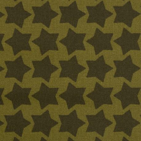 "Coated coton ""Staaars"" khaki green"