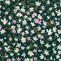 Viola White and pink Flowers on dark green
