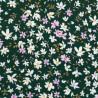 Viola Fleurs blanches et rose sur vert foncé