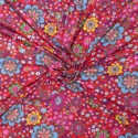 Fabric for rain jackets flowers on red