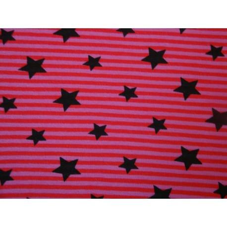 Sterne auf rosa-roten Streifen