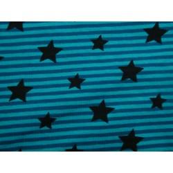 Etoiles noires sur rayures bleues