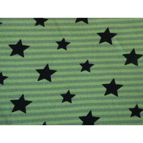 Etoiles noires sur rayures vertes