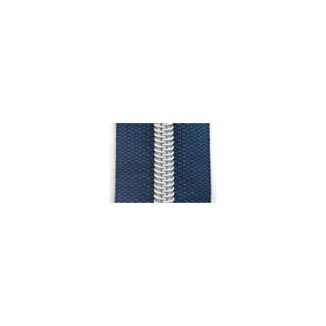 Fermeture au mètre bleu métallisé argenté 6,5mm