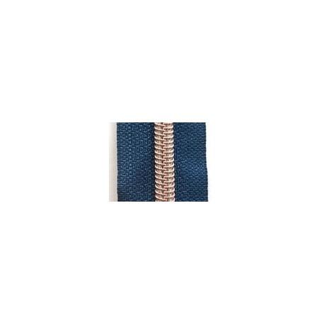 Fermeture au mètre bleu métallisé cuivré 6,5mm