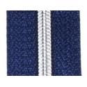 Fermeture au mètre bleu métallisé argenté 4mm