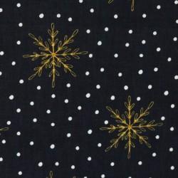 Christmas golden flocons on black