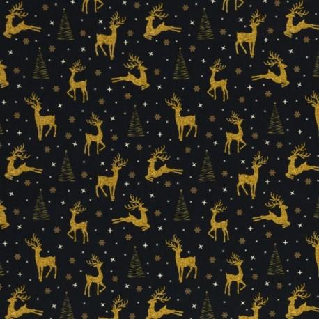 Christmas golden deers on black