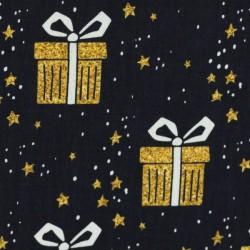 Noël Paquets cadeaux dorés sur noir