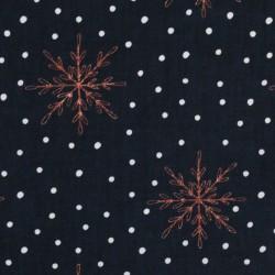 Weihnachten kupferne Schneeflocken auf schwarz