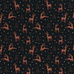 Weihnachten kupferne Hirsche auf schwarz