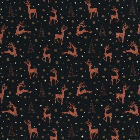 Christmas copper deers on black