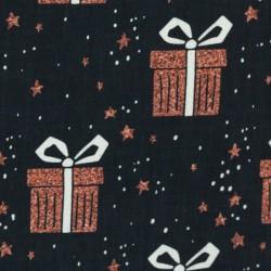 Noël Paquets cadeaux cuivrés sur noir