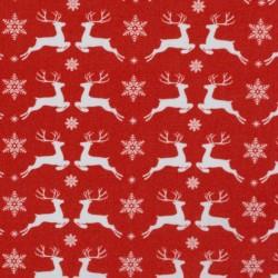 Noël Cerfs blancs sur rouge