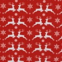 Christmas white deers on red