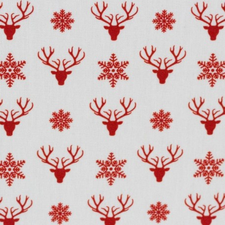 Christmas red deerheads on white