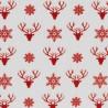 Noël Têtes de Cerfs rouge sur blanc